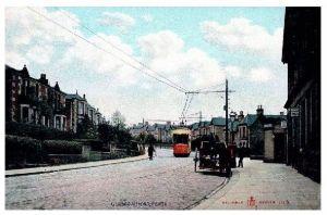 Alte Farbfoto-AK Straßenbahn in der Glasgow Road von Perth (Neudruck als Postkarte)