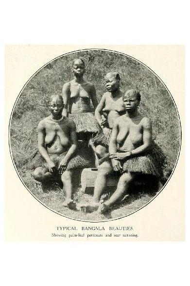 Altes Foto Typische Frauen der Bangala (Neudruck als Postkarte)