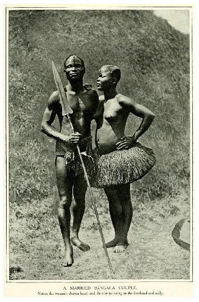 Altes Foto Ehepaar der Bangala (Neudruck als Postkarte)