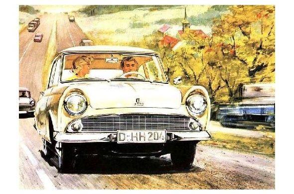 Alte Künstlerkarte DKW Junior auf der Autobahn (Neudruck als Postkarte)