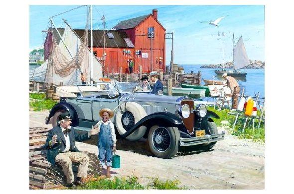 Alte Künstlerkarte Szene an einem Fischerpier mit altem Auto in Amerika (Neudruck als Postkarte)