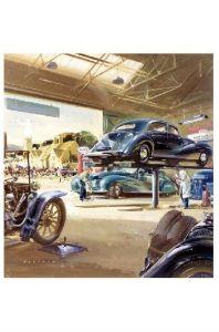 Alte Künstlerkarte Szene in einer Esso-Werkstatt in Großbritannien (Neudruck als Postkarte)
