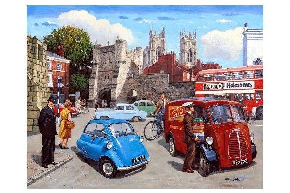 Alte Künstlerkarte Ein Arbeitstag in Großbritannien mit BMW Isetta (Neudruck als Postkarte)