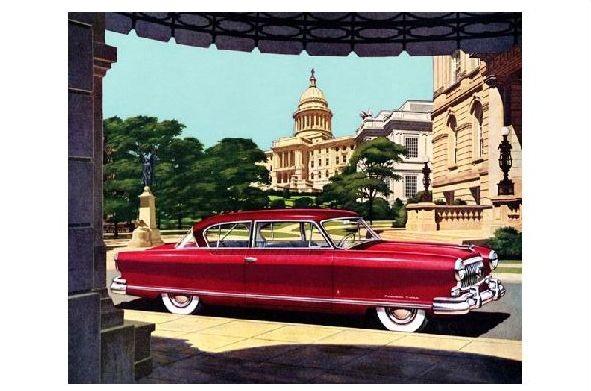 Alte Künstlerkarte Nash Ambassador Custom Golden Airflyte 1952 (Neudruck als Postkarte)