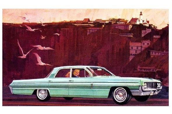 Alte Künstlerkarte Oldsmobile Dynamic 88 Celebrity Sedan 1962 (Neudruck als Postkarte)