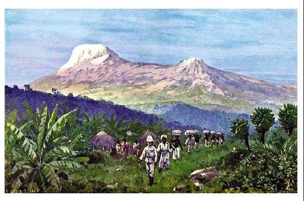 Alte Künstlerkarte Deutscher Soldat mit Trägern in Ostafrika (Neudruck als Postkarte)