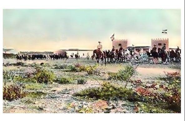 Altes Farbfoto Deutsch-Südwestafrika Ausmarsch der Truppen aus Outjo (Neudruck als Postkarte)