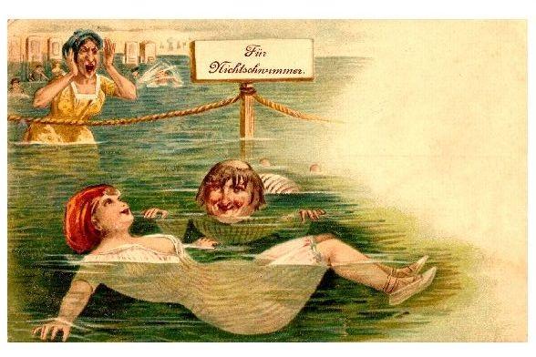 Alte Künstlerkarte Lüstling entkommt Ehefrau (Neudruck als Postkarte)