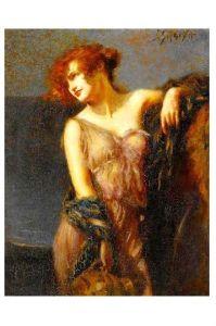Altes Gemälde Schmutzler - Mädchen mit Krug (Neudruck als Postkarte)