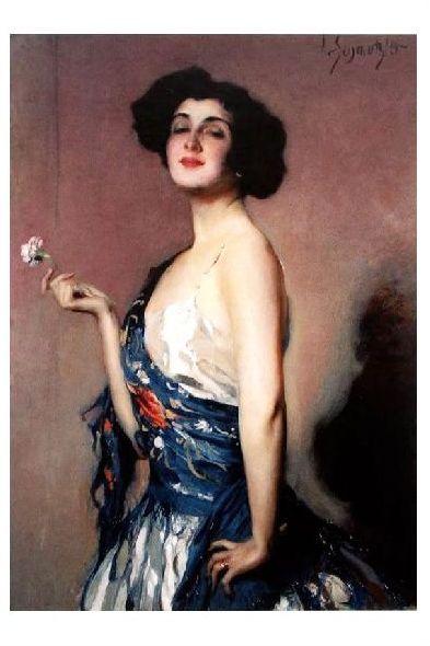 Altes Gemälde Schmutzler - Frau mit Blume in der Hand (Neudruck als Postkarte)