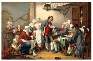 Altes Gemälde Greuze - Abstimmung auf dem Dorf (Neudruck als Postkarte)