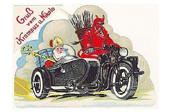 Alte Künstlerkarte Gruß vom Krampus und Nikolo (Neudruck als Postkarte)