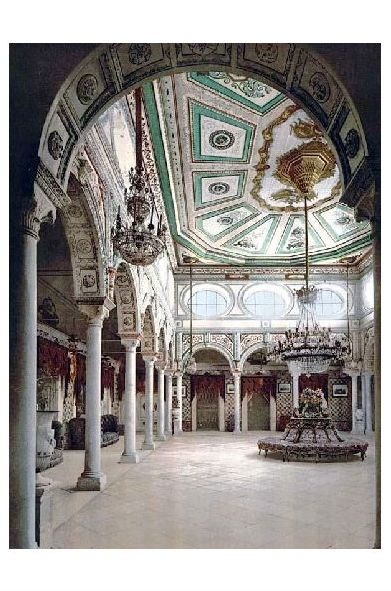 Altes Photochrome-Farbfoto Privater Raum im Kassar-Said-Palast in Tunis (Neudruck als Postkarte)