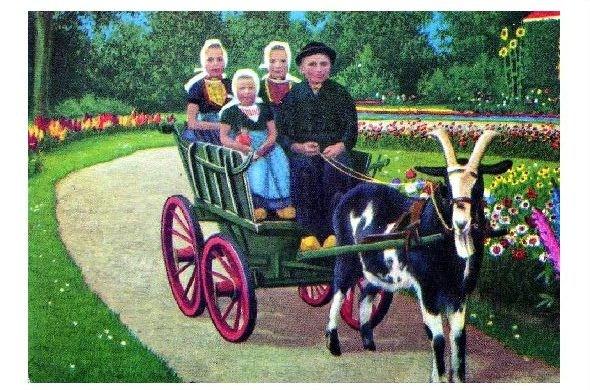 Alte Farb-AK Kinder in Tracht in einer Ziegenkutsche (Neudruck als Postkarte)
