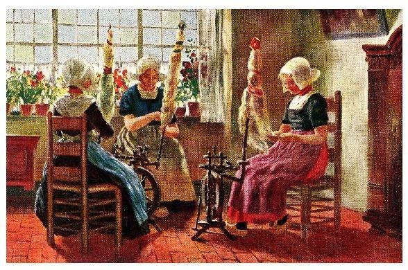 Alte Farb-AK 3 Frauen in Tracht in einer Spinnstube (Neudruck als Postkarte)