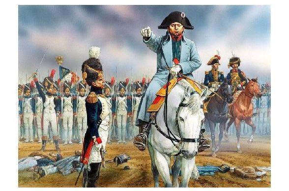 Alte Künstlerkarte Napoleon vor der Schlacht von Waterloo (Neudruck als Postkarte)