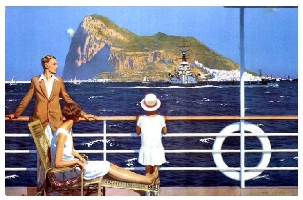 Alte Künstlerkarte Paar mit Kind schaut von Schiff auf Gibraltar (Neudruck als Postkarte)