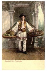 Alte Farb-AK Rumänischer Händler in Tracht (Neudruck als Postkarte)