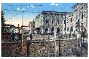 Alte Farb-AK Bahnhof von Krakau in Polen (Neudruck als Postkarte)