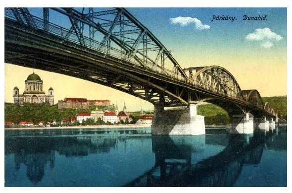 Alte Farbfoto-AK Brücke über die Donau in Budapest (Neudruck als Postkarte)