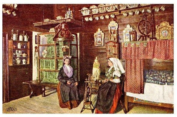 Alte Künstlerkarte Frauen in Tracht in einer Bauernstube in Marienbad (Neudruck als Postkarte)