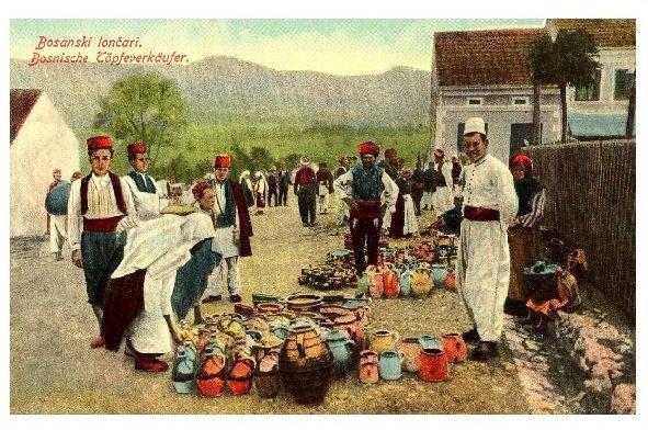 Alte Farbfoto-AK Bosnische Töpfeverkäufer (Neudruck als Postkarte)