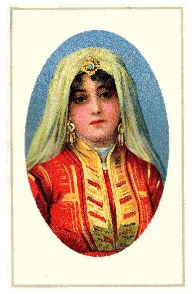 Alte Farbfoto-AK Portrait einer Bulgarin in Tracht (Neudruck als Postkarte)