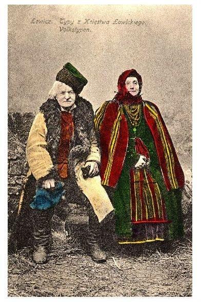 Alte Farbfoto-AK Altes Paar aus Lowicz in Tracht (Neudruck als Postkarte)