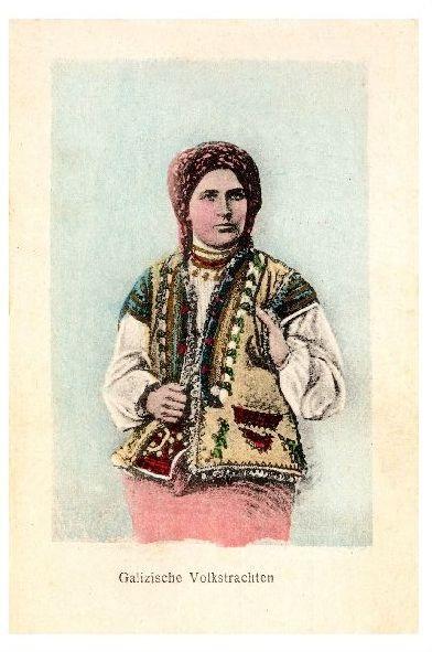 Alte Farbfoto-AK Frau in Galizischer Volkstracht (Neudruck als Postkarte)