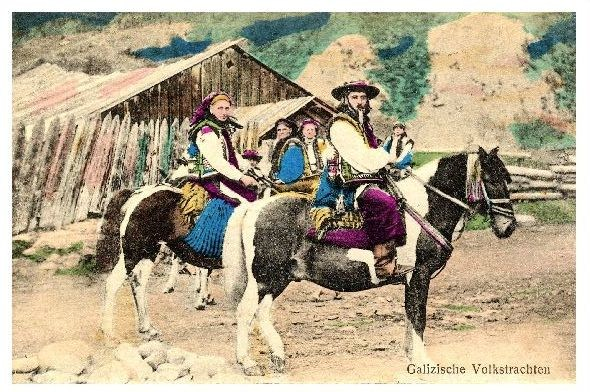 Alte Farbfoto-AK Bauern auf Pferden in Galizischer Volkstracht (Neudruck als Postkarte)
