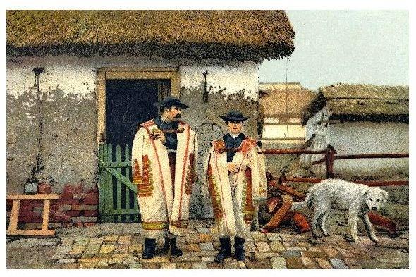Alte Farbfoto-AK Oberhirte und Sohn in traditioneller Kleidung in Hortobagy (Neudruck als Postkarte)