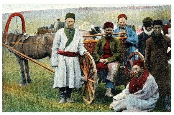 Altes Farbfoto Tataren mit Pferdewagen (Neudruck als Postkarte)