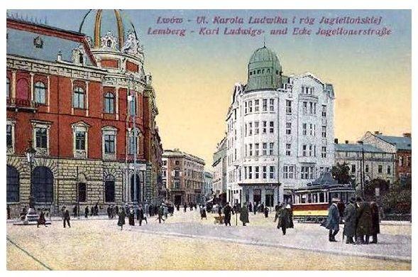 Alte Farbfoto-AK Karl-Ludwigs-Straße Ecke Jagellonerstraße in Lemberg, Ukraine (Neudruck als Postkarte)