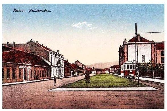 Alte Künstlerkarte Straßenbahn in Kassa, Slowakei (Neudruck als Postkarte)