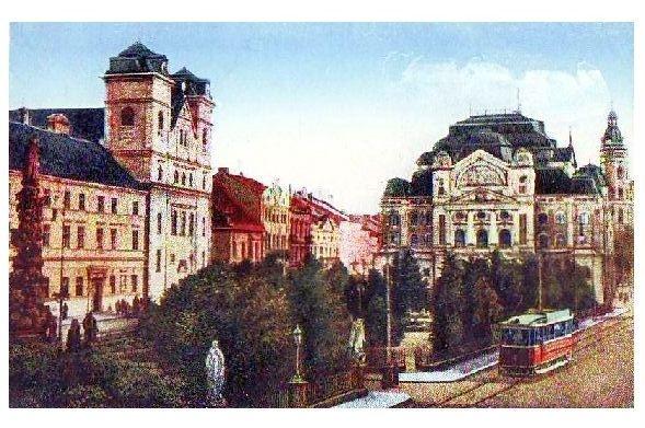 Alte Künstlerkarte Straßenbahn in Kosice, Slowakei (Neudruck als Postkarte)
