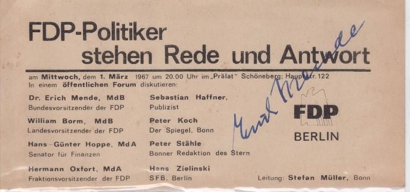 Erich Mende Originalautograph 1967 Minister FDP Vorsitzender Ritterkreuzträger