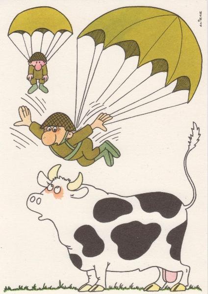 DDR NVA Postkarte Karikatur Fallschirmjäger