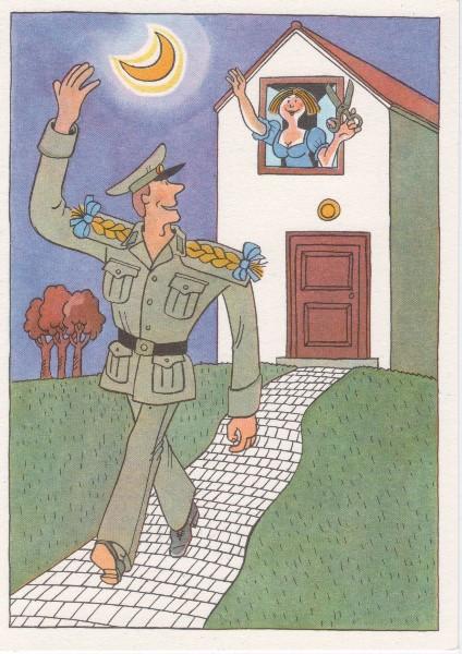 DDR NVA Postkarte Karikatur Beförderung