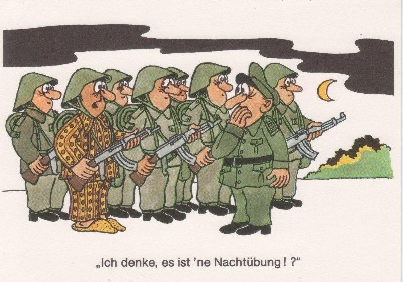 DDR NVA Postkarte Karikatur Nachtübung