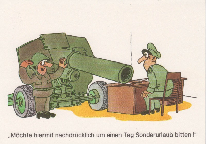 DDR NVA Postkarte Karikatur Sonderurlaub