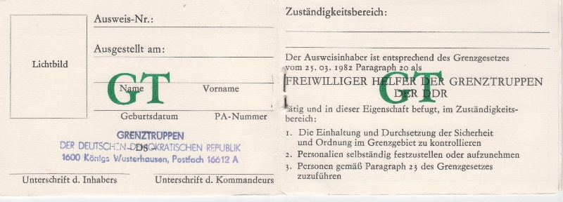 DDR Ausweis Freiwilliger Helfer der Grenztruppen blanko