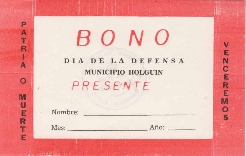 Cuba Kuba Unterstützungszertifikat Verteidigungtag Holguin