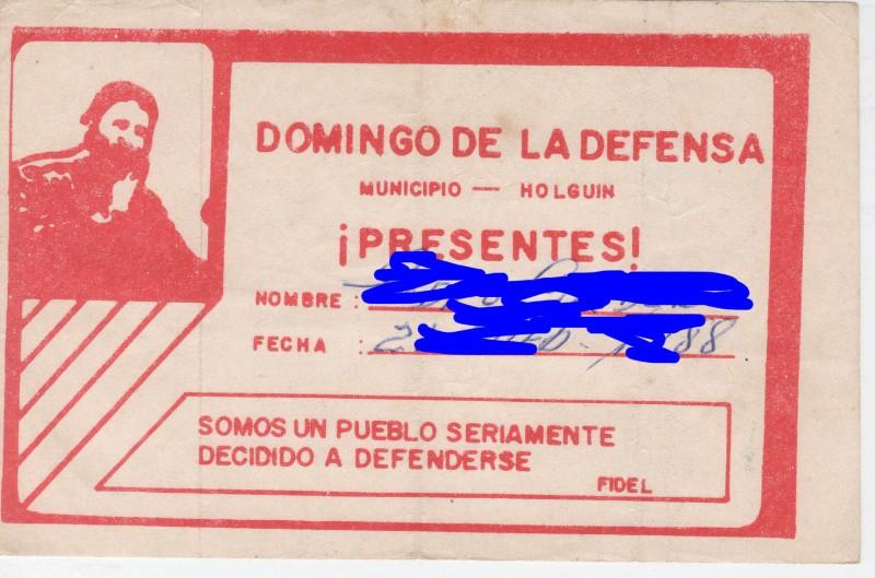 Cuba Kuba Unterstützungszertifikat Sonntag der Verteidigung Holguin