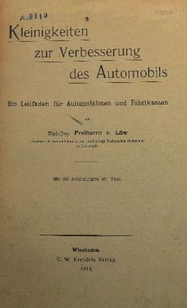 """Löw """"Kleinigkeiten zur Verbesserung des Automobils"""" Fahrzeugtechnik 1914"""