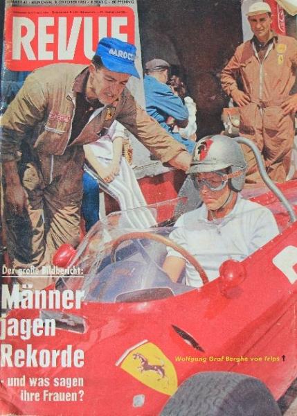 """""""Revue"""" Zeitschrift Bericht über Unfall Graf Berghe von Trips 1961"""