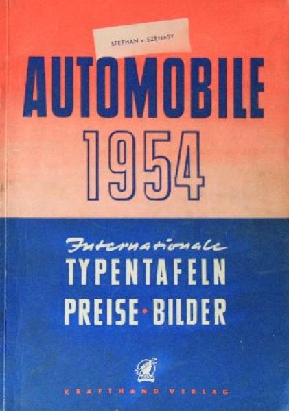 "Szenasy ""Automobile 1954 - Typentafeln, Preise, Bilder"" 1954"