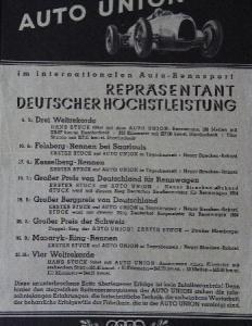 """Auto-Union """"Repräsentant Deutscher Höchstleistungen"""" Automobilprospekt 1939"""