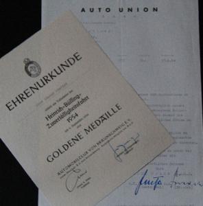Auto-Union Motorsport Ehrenurkunde 1954