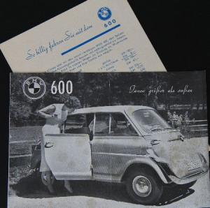 BMW 600 Modellprogramm 1957 Automobilprospekt