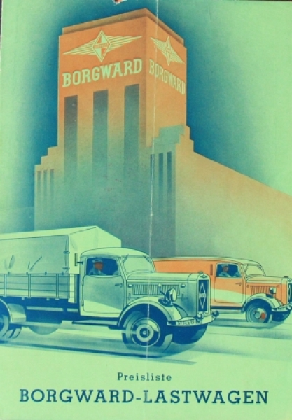 Borgward Lastwagen Preisliste 1939 Lastwagenprospekt